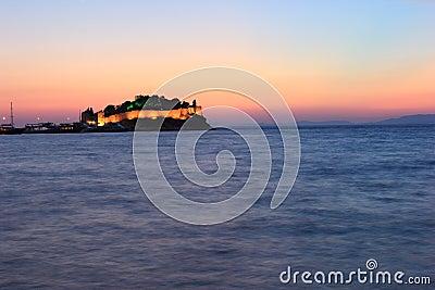 Night view kusadasi castle