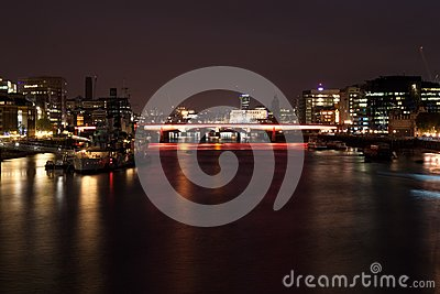Night view of the London Bridge and the Thames