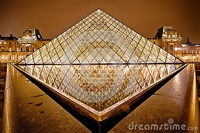 Night view of Louvre Art Museum, Paris, France. Editorial Stock Photo