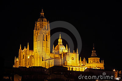 Night view on majestic Cathedral in Segovia, Spain