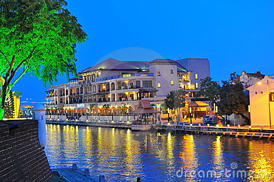 Night view at Malacca river Editorial Photography