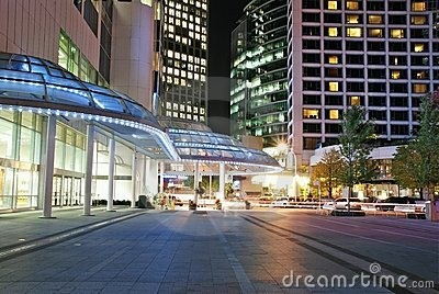 Night view of modern building and street view in d