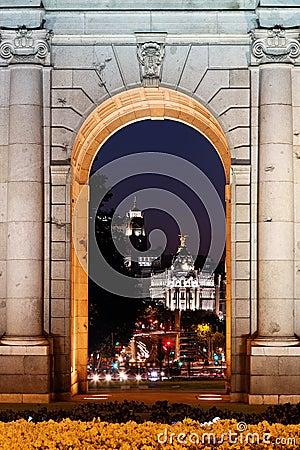 Night view of the monument Puerta de Alcala