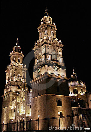 Night view morelia cathedral