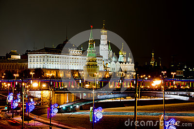 Night view on Moscows Kremlin in winter