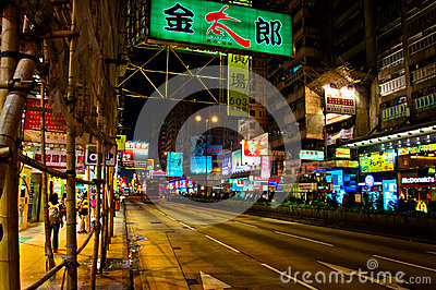 Night view of Nathan Road in Kowloon, Hong Kong Editorial Photo