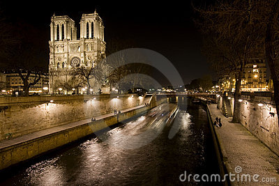 Night View of Notre Dame de Paris and Seine river