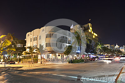 Night view at Ocean drive in Miami Editorial Stock Image