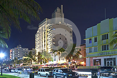 Night view at Ocean drive in Miami Editorial Photo