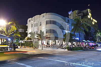 Night view at Ocean drive in Miami Editorial Stock Photo
