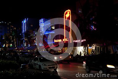 Night view at Ocean drive on Editorial Photo