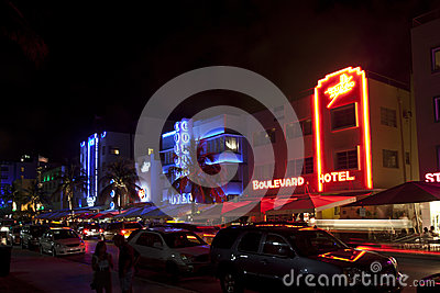 Night view at Ocean drive on Editorial Stock Image