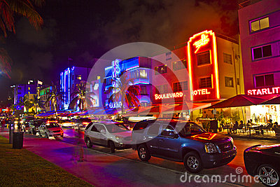 Night view at Ocean drive on Editorial Stock Photo