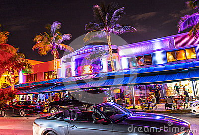 Night view at Ocean drive in South Miami Editorial Stock Image