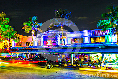 Night view at Ocean drive in South Miami Editorial Stock Photo