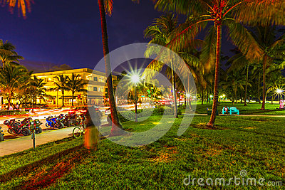 Night view at Ocean drive in South Editorial Stock Photo