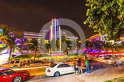 Night view at Ocean drive in South Editorial Photo
