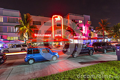 Night view at Ocean drive in South Editorial Photography