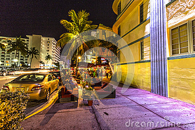 Night view at Ocean drive in South Editorial Image