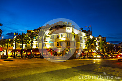 Night view at Ocean drive in South Editorial Stock Image