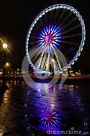 Free Night View Of Illuminated Big Wheel In Paris Stock Photography - 136378012