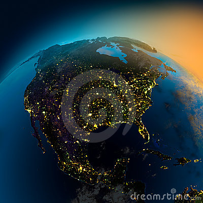 Free Night View Of North America From Royalty Free Stock Photos - 16387288