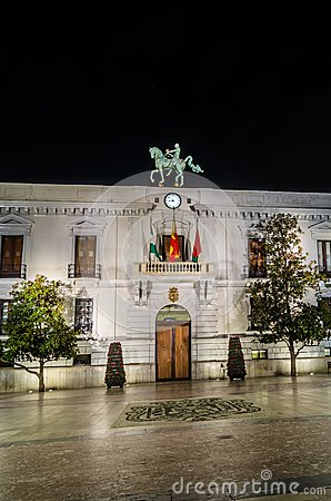 Free Night View Of The Granada City Hall Facade Royalty Free Stock Image - 124275616