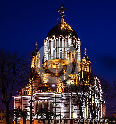 Free Night View Of The Orthodox Cathedral Of Fagaras, Brasov County, Romania Stock Photo - 69193490