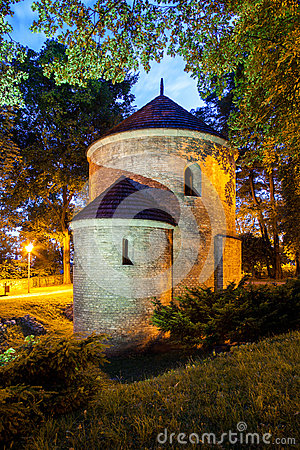Free Night View Of The Romanesque St Nicholas Rotunda On Castle Hill In Cieszyn, Poland Stock Image - 33391511