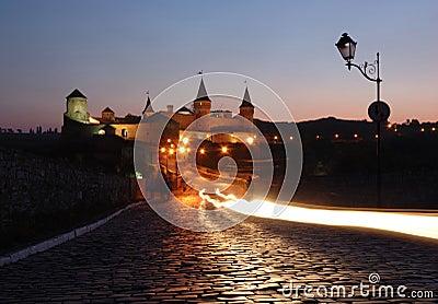 Night view of old fortress in kamynec-podolskiy