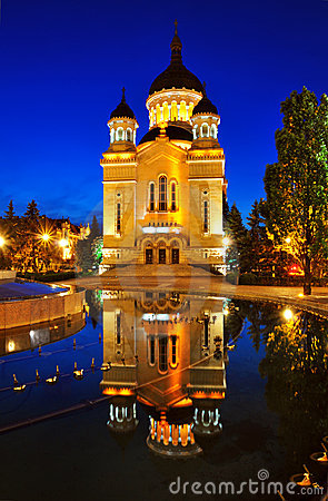 Night view of Orthodox cathedral from Cluj Napoca