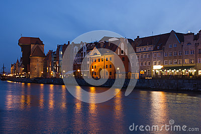 Night view over the river Motlawa the Old Town in Gdansk