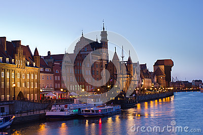 Night view over the river Motlawa the Old Town in Gdansk, Poland
