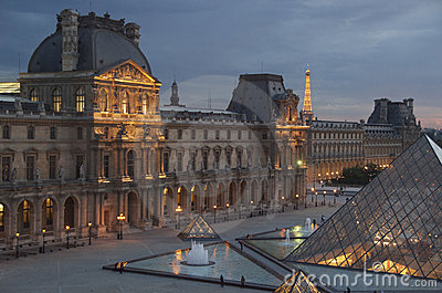 Night view of Paris landmarks Editorial Stock Image