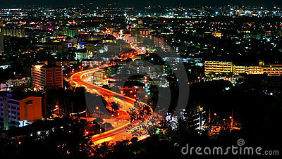 Night view of  Pattaya city, Thailand