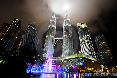 Night view of the Petronas Twin Towers in Malaysia Editorial Stock Image