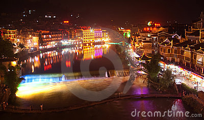 Night-view at Phoenix Town, next to Tuojiang,China