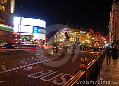 A night view of the Piccadilly Circus in London
