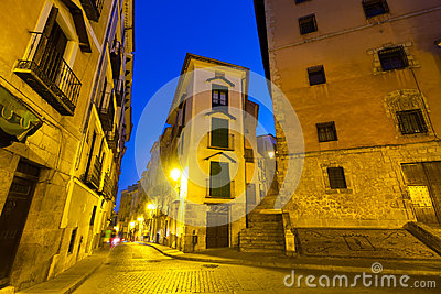 Night view of picturesque narrow street