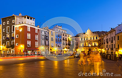 Night view of Plaza Mayor in Cuenca