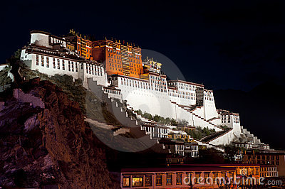 Night view of Potala Palace in Lhasa,