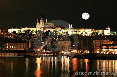The night view of Prague