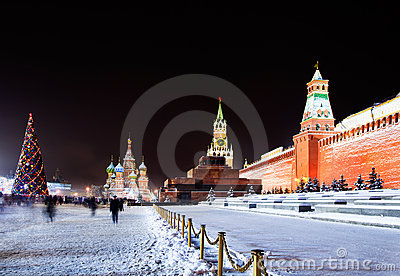 Night view of the Red Square in Moscow with decora Editorial Stock Photo