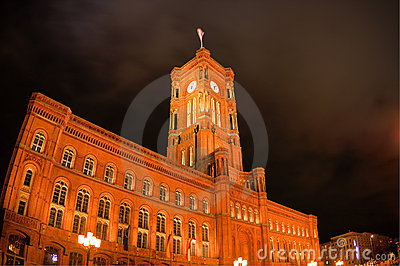 Night view on Red Town Hall in Berlin