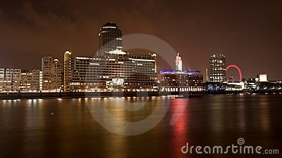 Night view of River Thames London Editorial Photo