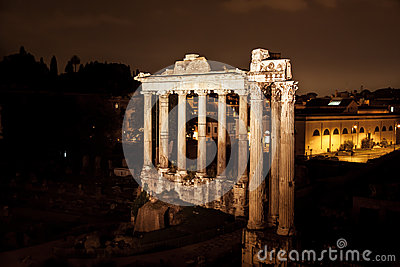 Night view of Roman Forum