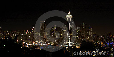 Night View on Seattle Downtown