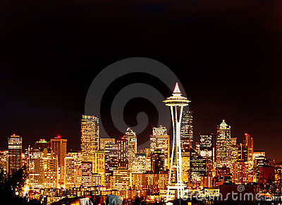 Night View on Seattle Skyline with Space Needle