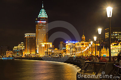 Night view of Shanghai Bund, China Editorial Stock Image