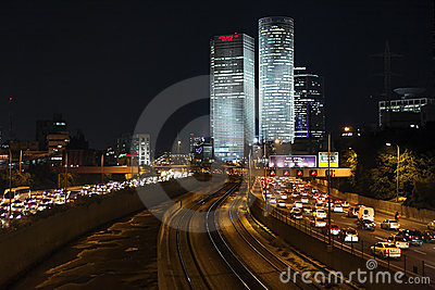 Night view on the skyscrapers of Tel Aviv Editorial Photo